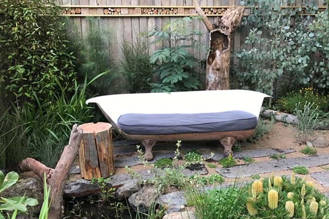 Another great Achievable Garden design featuring a recycled iron bathtub