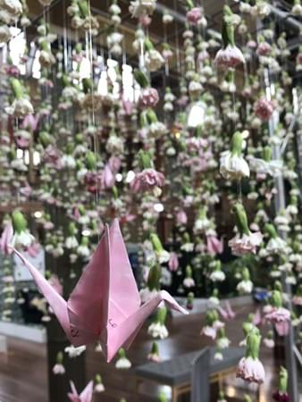 Pink Rain by Love Alice & Co made from carnations and paper cranes