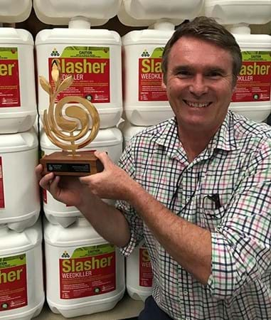Gary Leeson, Managing Director, showing off the Organic Product of the Year trophy from the 2017 Australian Organic Annual Awards for Excellence