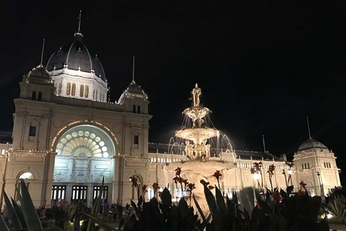The majestic Exhibition Building all lit up for the night opening