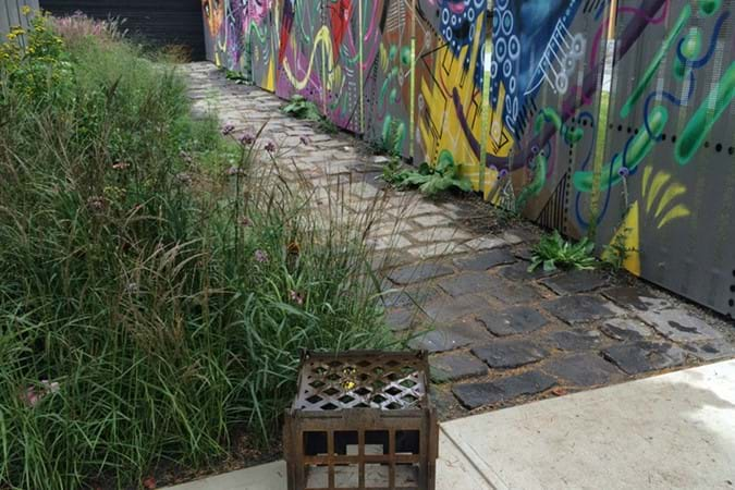 The edgy laneway Right of Way garden by Daniel Tyrell Landscapes