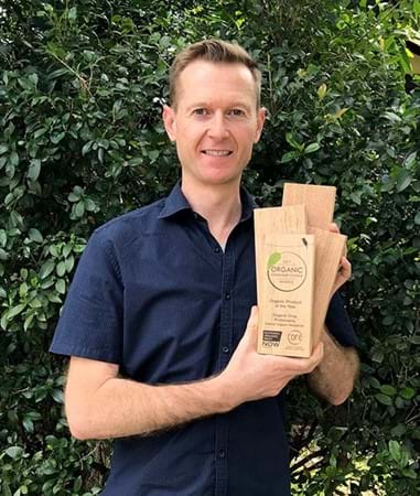 Steve Falcioni, General Manager, with the Organic Product of the Year award from the 2017 Organic Consumer Choice Awards