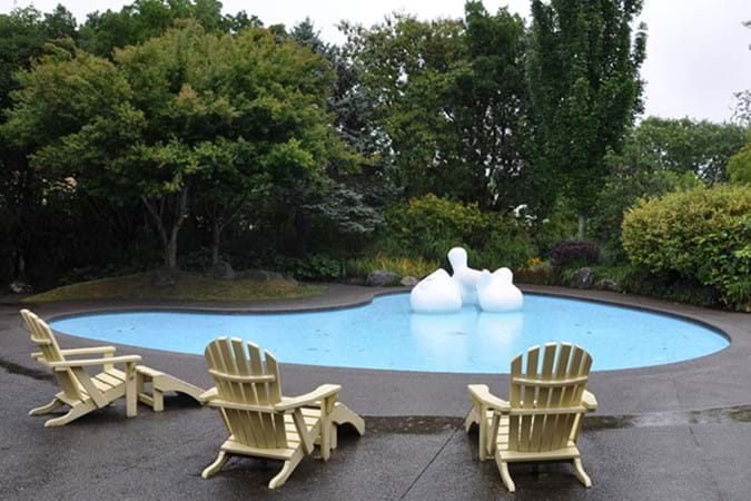 Modernist Garden with funky pool sculpture